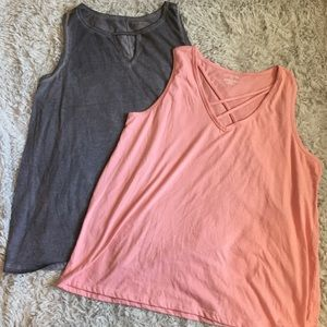 Lane Bryant Lot of Two Pink/Gray Tank Tops Strappy
